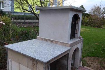 Arbeitsplatte aus Granit und Verputzarbeiten