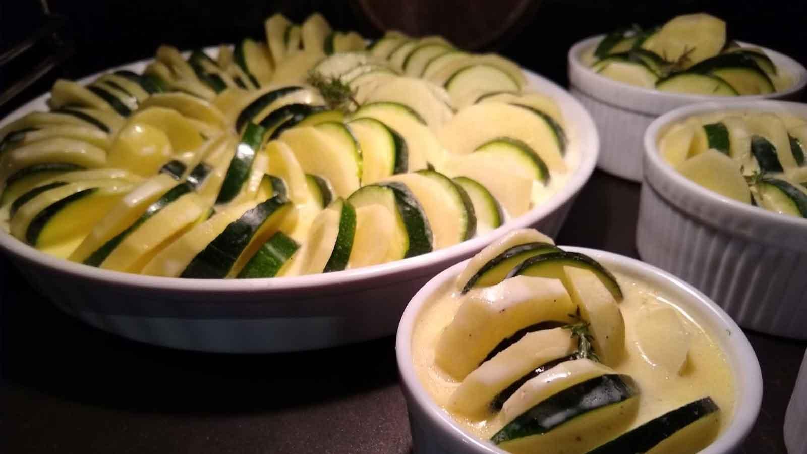 Kartoffel-Zucchini-Gratin aus dem Holzbackofen